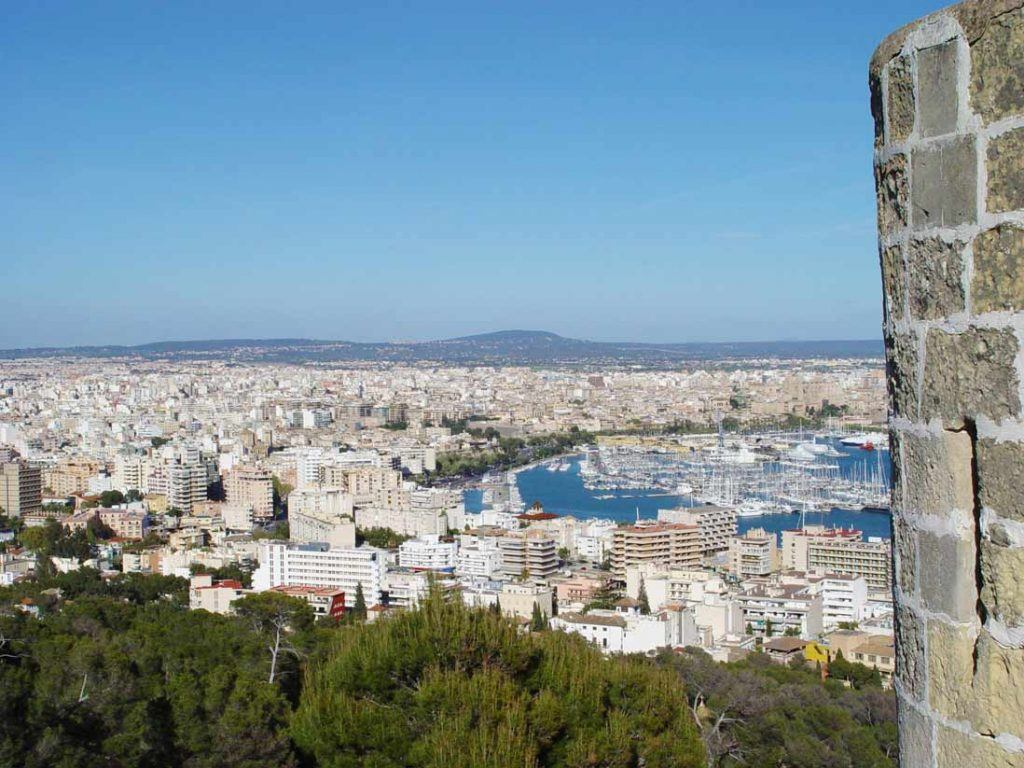 Panoramic view of Palma de Mallorca city from the magnific Castle Bellver