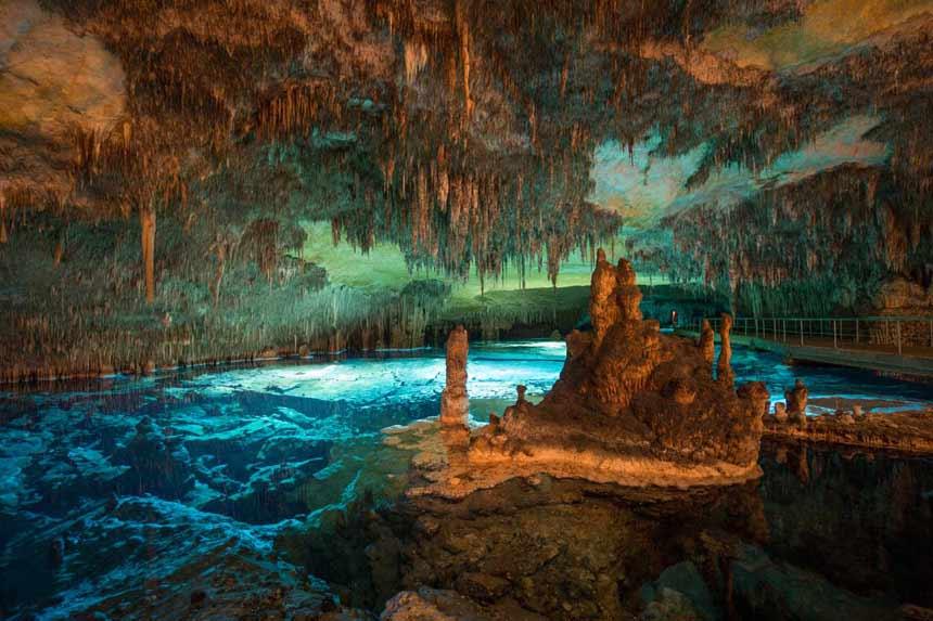 Inside the cave of Porto Cristo