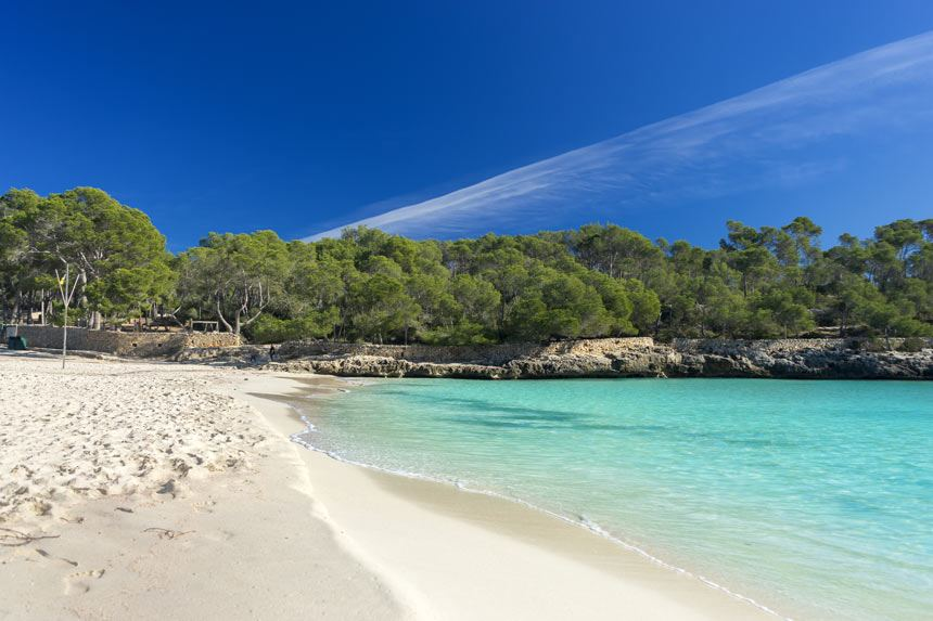 Beutifull landscape of Cala Mondrago cristaline and turquois waters