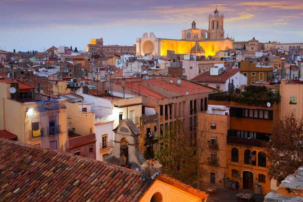 Beautifull sunset in Tarragona city and cathedral