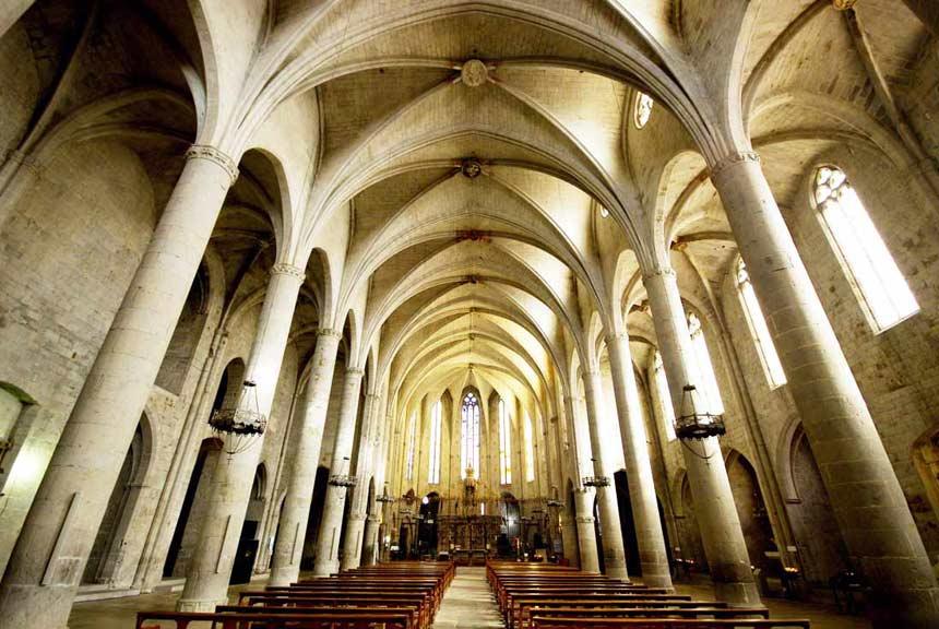 Inside the beautifull l'empoda Cathedral in Costa Brava