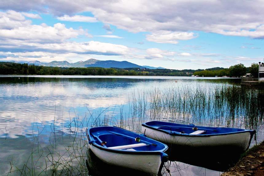 Boats floating in the lagoon of the Aiguamolls de l'emporda Natural Park