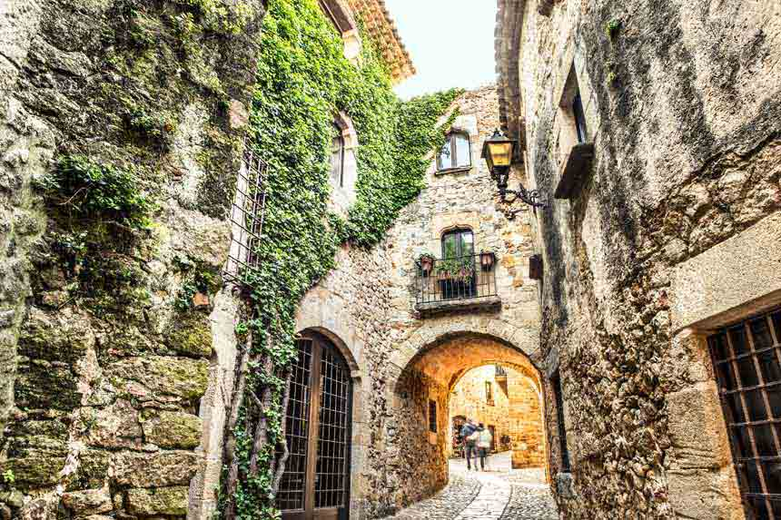 Narrow and old streets in Pals in Costa Brava
