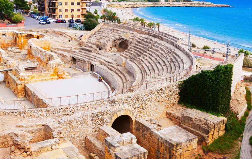 tarragona Roman ruins anfitheater aereal view