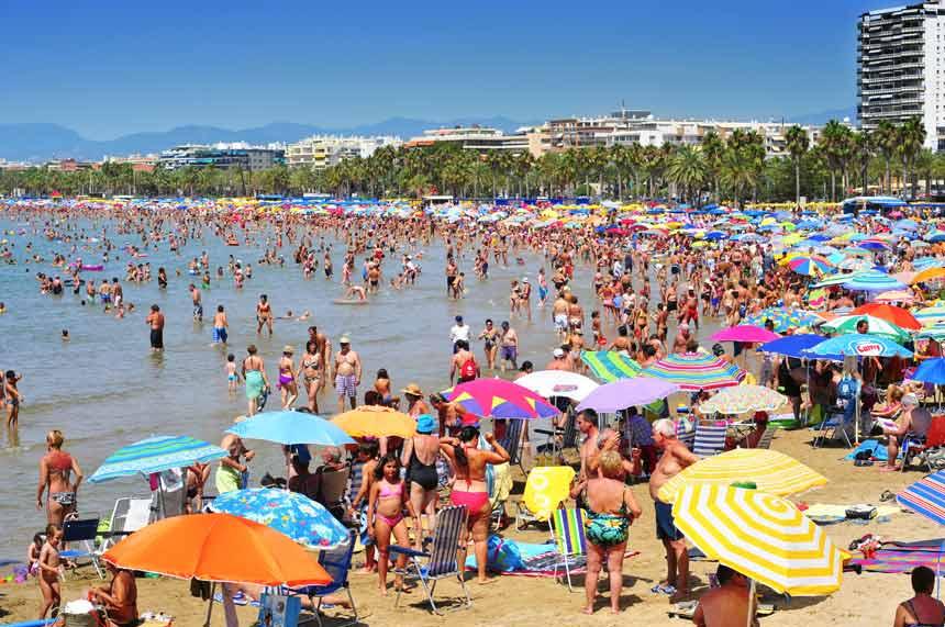 Salou main beach full of people on Summer