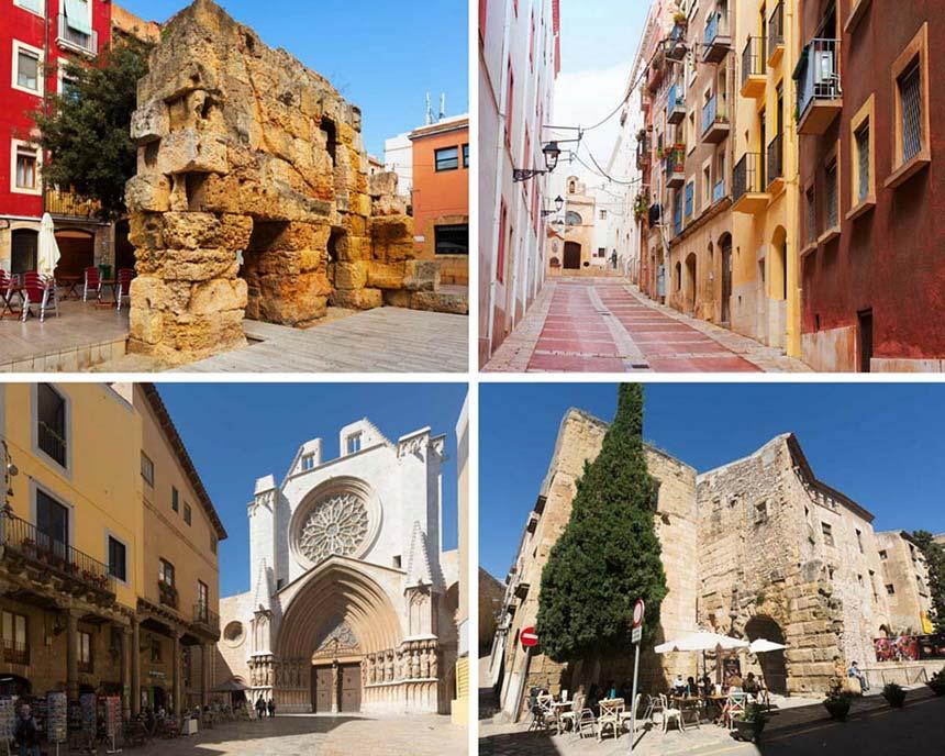 Tarragona old town and roman walls photo collage