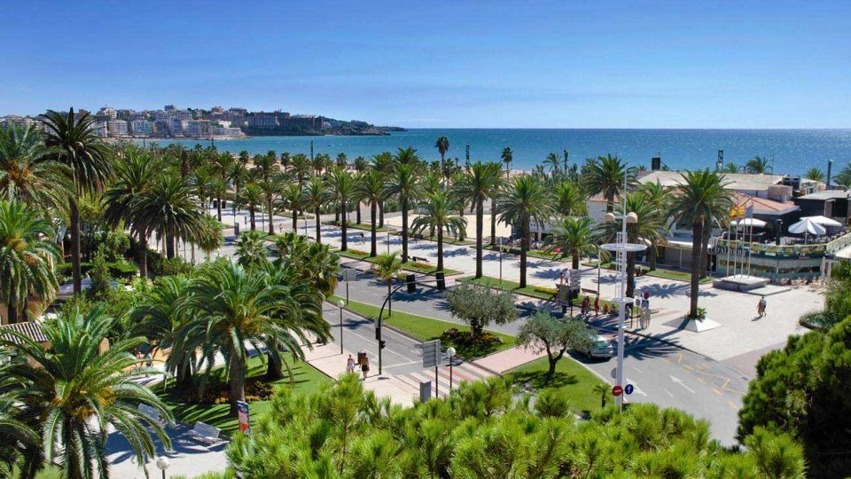 Beautifull aereal view of Salou and main promenade