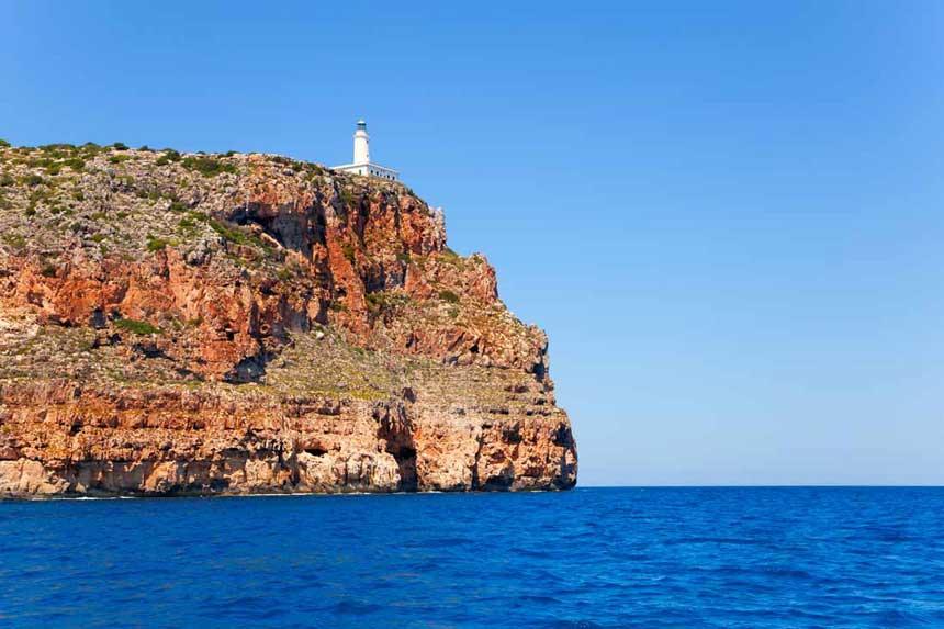 Spetactacular lighthouse La Mola in Formentera