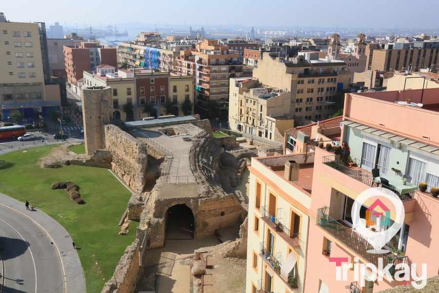 Vista aerea del circo desde lo alto de la torre del pretori