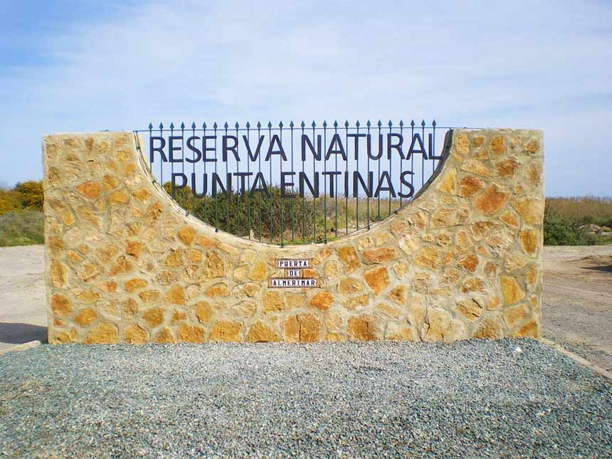 Entrance to punta entinas natural park in Almeria