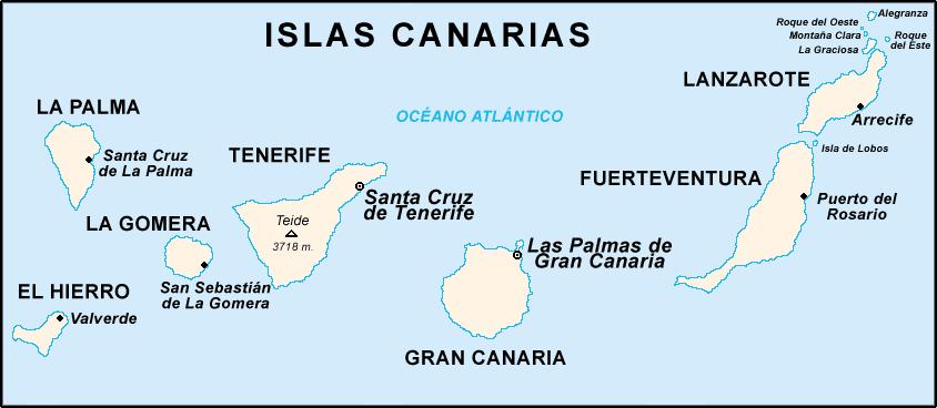 mapa islas canarias tripkay